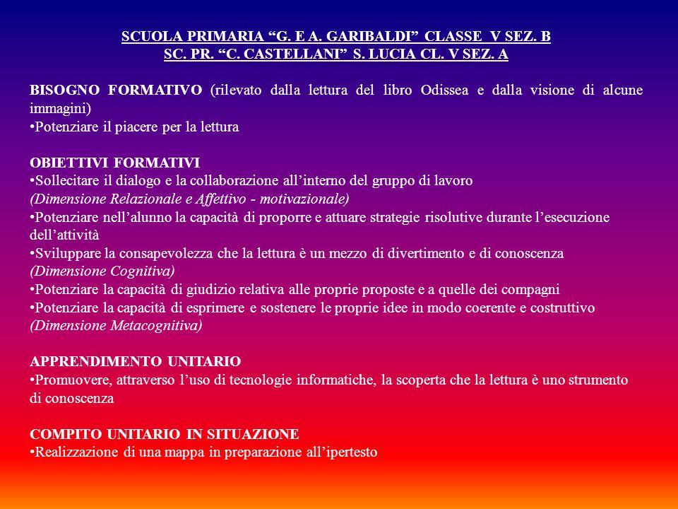 SCUOLA PRIMARIA G. E A. GARIBALDI CLASSE V SEZ. B SC. PR. C. CASTELLANI S. LUCIA CL. V SEZ. A BISOGNO FORMATIVO (rilevato dalla lettura del libro Odis