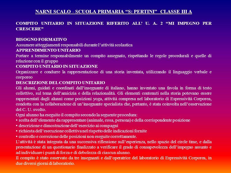 NARNI SCALO - SCUOLA PRIMARIA S: PERTINI CLASSE III A COMPITO UNITARIO IN SITUAZIONE RIFERITO ALL U. A. 2 MI IMPEGNO PER CRESCERE BISOGNO FORMATIVO As