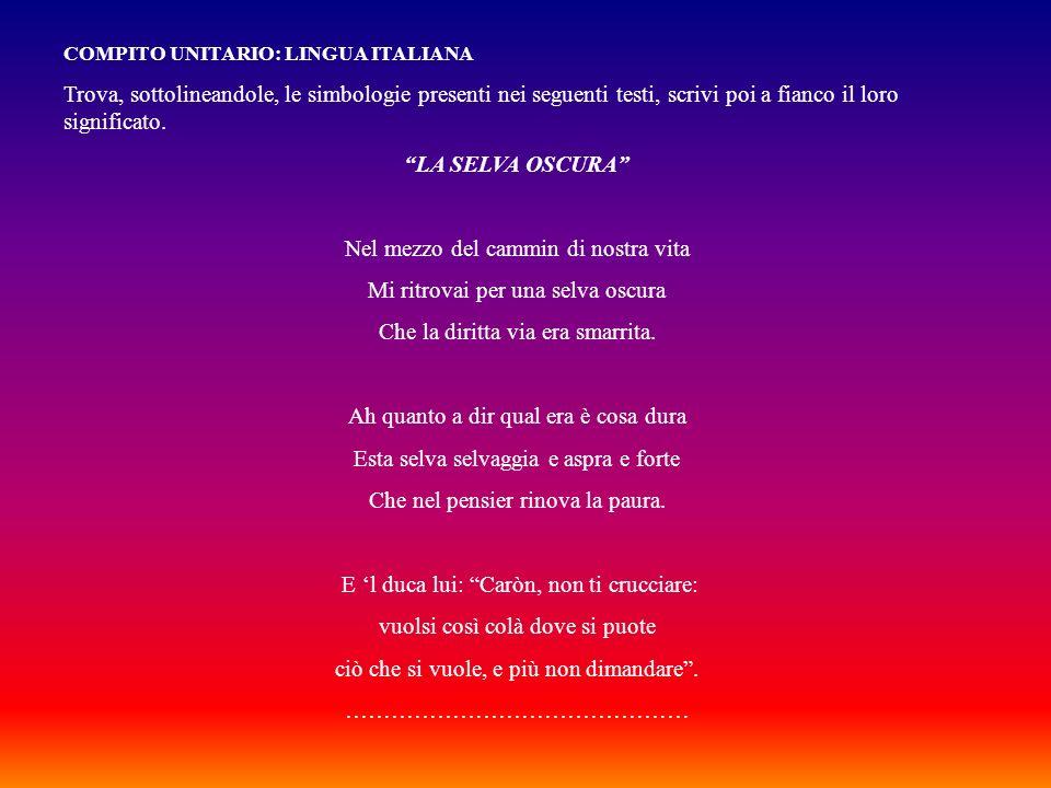 COMPITO UNITARIO: LINGUA ITALIANA Trova, sottolineandole, le simbologie presenti nei seguenti testi, scrivi poi a fianco il loro significato. LA SELVA