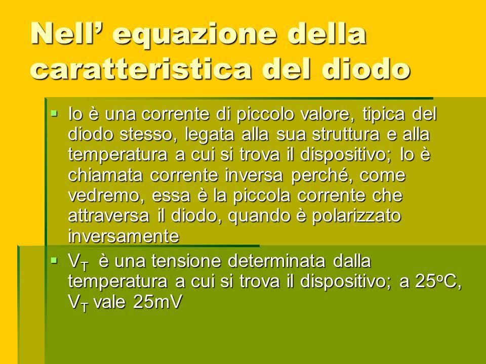 Nell equazione della caratteristica del diodo Io è una corrente di piccolo valore, tipica del diodo stesso, legata alla sua struttura e alla temperatu