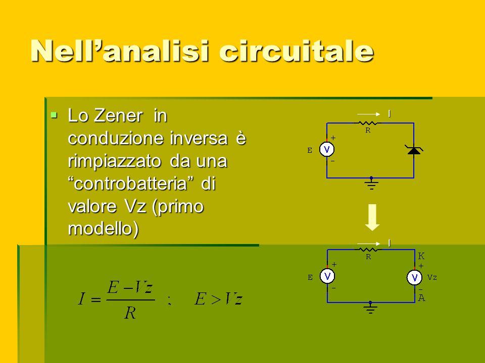 Nellanalisi circuitale Lo Zener in conduzione inversa è rimpiazzato da una controbatteria di valore Vz (primo modello) Lo Zener in conduzione inversa