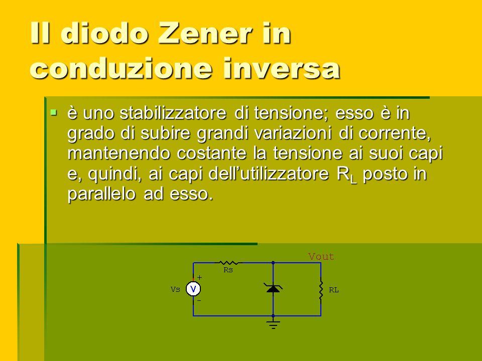 Il diodo Zener in conduzione inversa è uno stabilizzatore di tensione; esso è in grado di subire grandi variazioni di corrente, mantenendo costante la