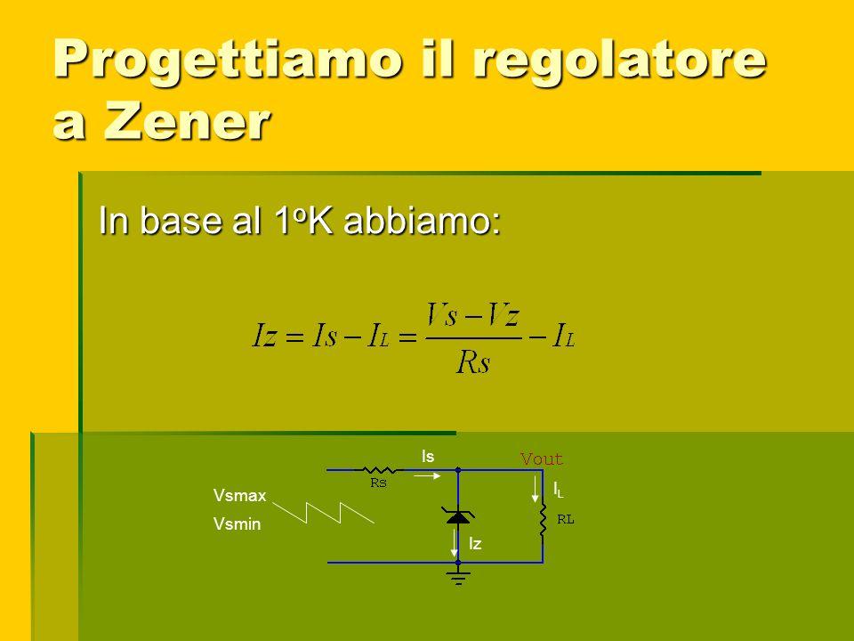 Progettiamo il regolatore a Zener Vsmax Vsmin Is ILIL Iz In base al 1 o K abbiamo: