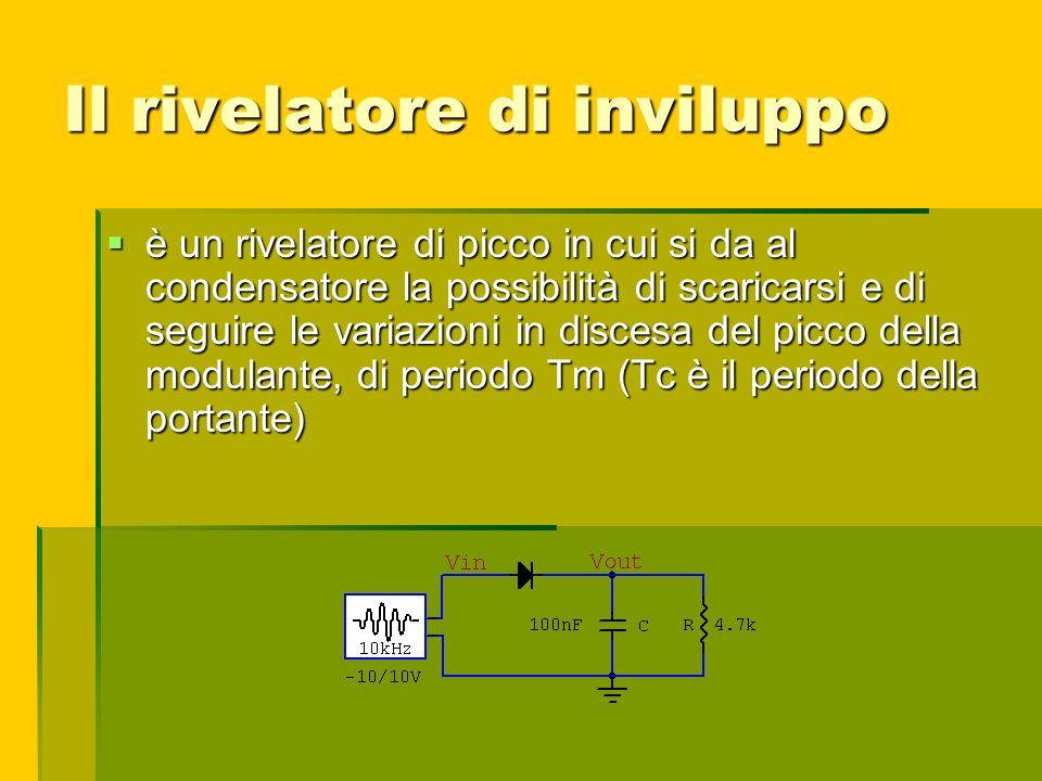 Il rivelatore di inviluppo è un rivelatore di picco in cui si da al condensatore la possibilità di scaricarsi e di seguire le variazioni in discesa de