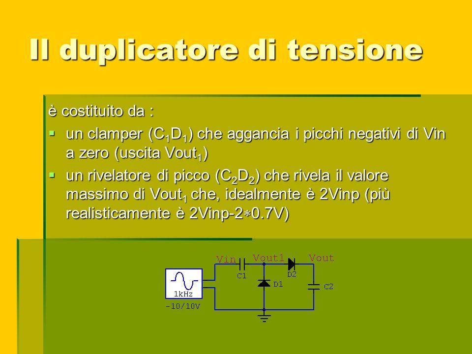 Il duplicatore di tensione è costituito da : un clamper (C 1 D 1 ) che aggancia i picchi negativi di Vin a zero (uscita Vout 1 ) un clamper (C 1 D 1 )