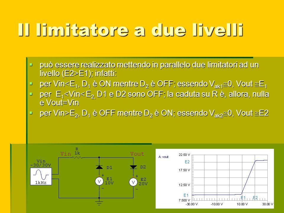 Il limitatore a due livelli può essere realizzato mettendo in parallelo due limitatori ad un livello (E2>E1); infatti: può essere realizzato mettendo