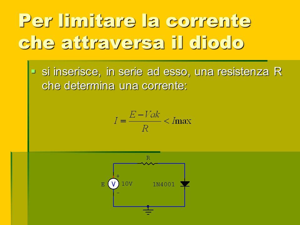 Per limitare la corrente che attraversa il diodo si inserisce, in serie ad esso, una resistenza R che determina una corrente: si inserisce, in serie a