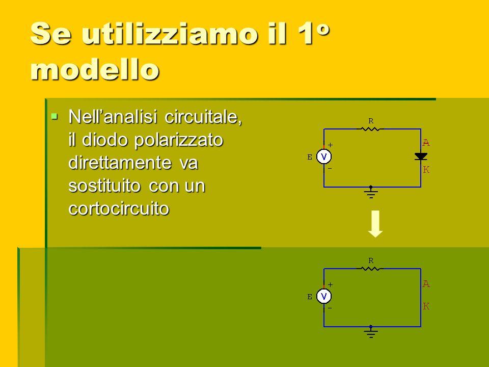 Se utilizziamo il 1 o modello Nellanalisi circuitale, il diodo polarizzato direttamente va sostituito con un cortocircuito Nellanalisi circuitale, il