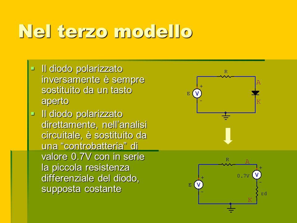 Nel terzo modello Il diodo polarizzato inversamente è sempre sostituito da un tasto aperto Il diodo polarizzato inversamente è sempre sostituito da un