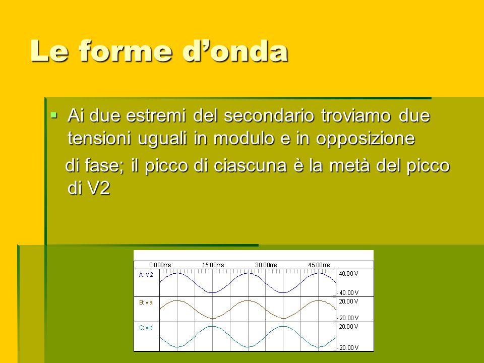 Le forme donda Ai due estremi del secondario troviamo due tensioni uguali in modulo e in opposizione Ai due estremi del secondario troviamo due tensio