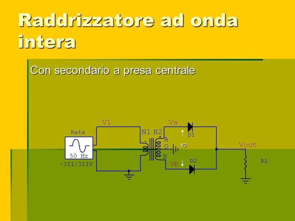 Raddrizzatore ad onda intera Con secondario a presa centrale V2