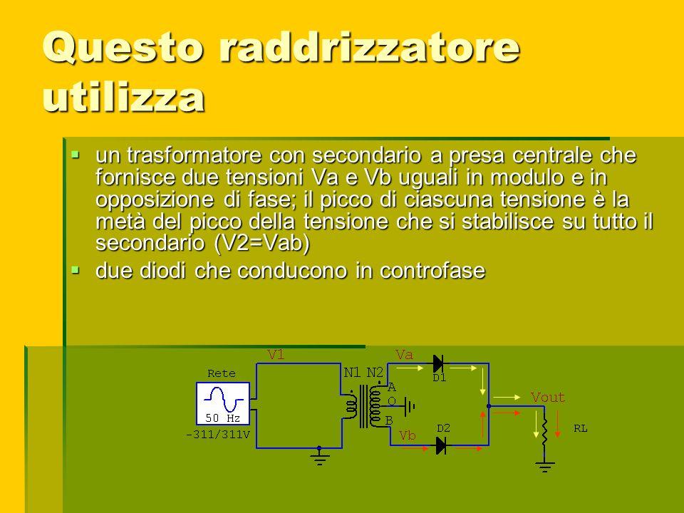 Questo raddrizzatore utilizza un trasformatore con secondario a presa centrale che fornisce due tensioni Va e Vb uguali in modulo e in opposizione di