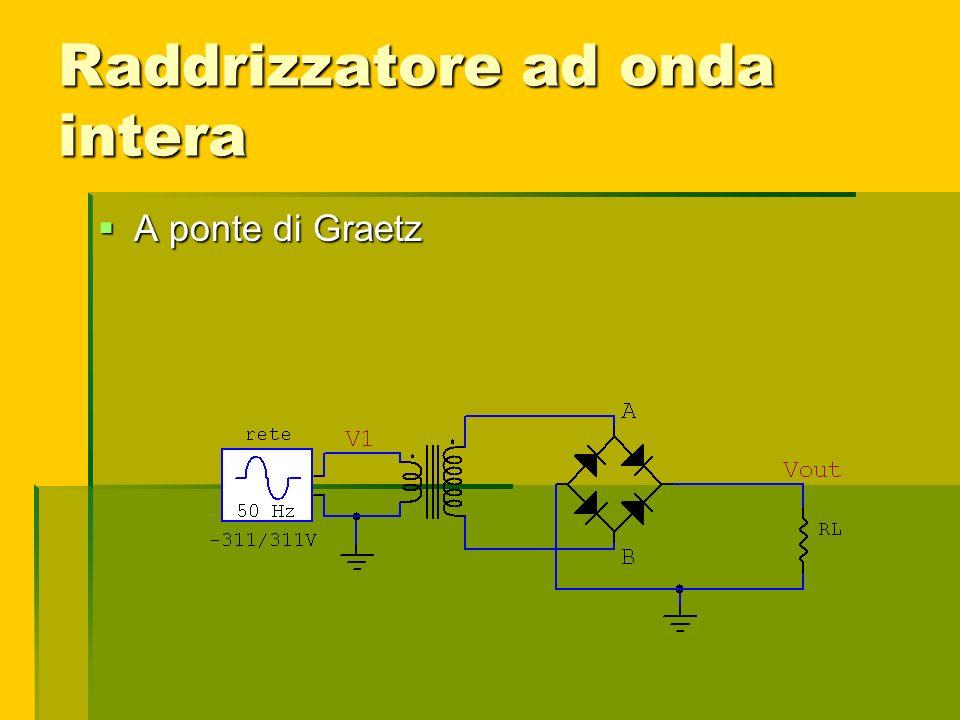 Raddrizzatore ad onda intera A ponte di Graetz A ponte di Graetz
