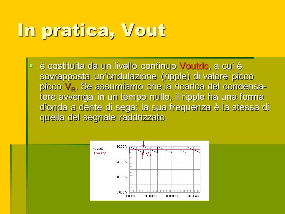In pratica, Vout è costituita da un livello continuo Voutdc, a cui è sovrapposta unondulazione (ripple) di valore picco picco V R. Se assumiamo che la