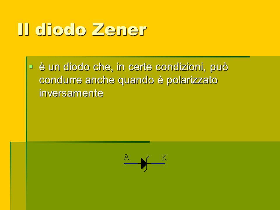 Il diodo Zener è un diodo che, in certe condizioni, può condurre anche quando è polarizzato inversamente è un diodo che, in certe condizioni, può cond