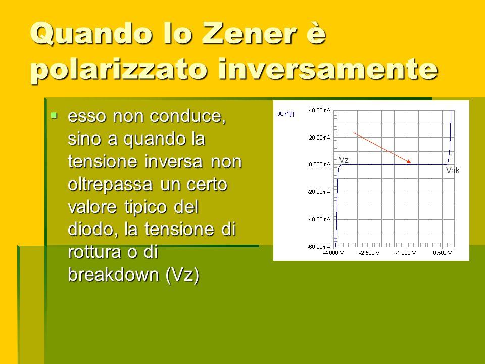 Quando lo Zener è polarizzato inversamente esso non conduce, sino a quando la tensione inversa non oltrepassa un certo valore tipico del diodo, la ten