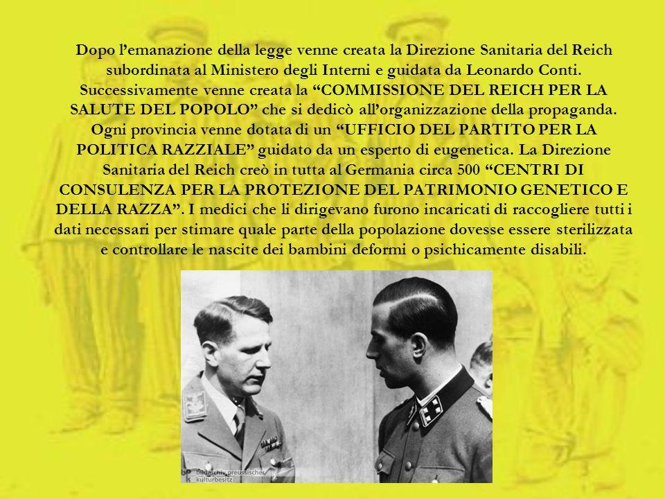 Dopo lemanazione della legge venne creata la Direzione Sanitaria del Reich subordinata al Ministero degli Interni e guidata da Leonardo Conti. Success