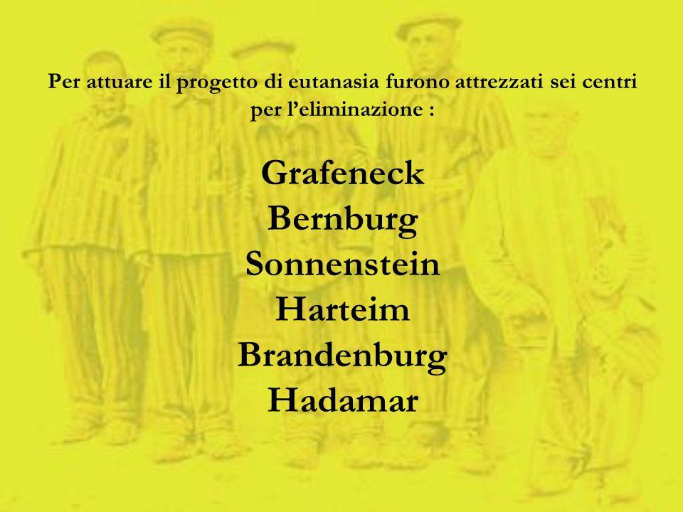 Per attuare il progetto di eutanasia furono attrezzati sei centri per leliminazione : Grafeneck Bernburg Sonnenstein Harteim Brandenburg Hadamar