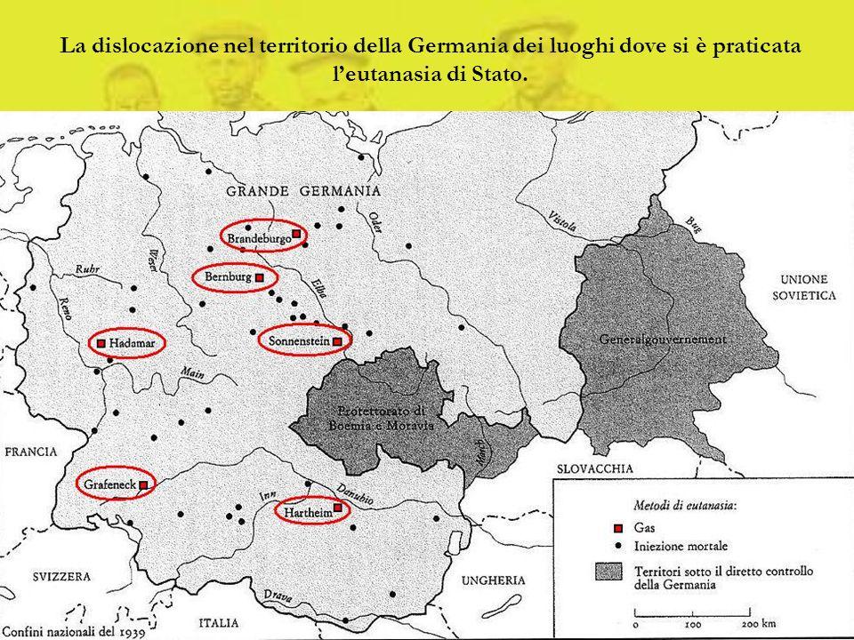 La dislocazione nel territorio della Germania dei luoghi dove si è praticata leutanasia di Stato.
