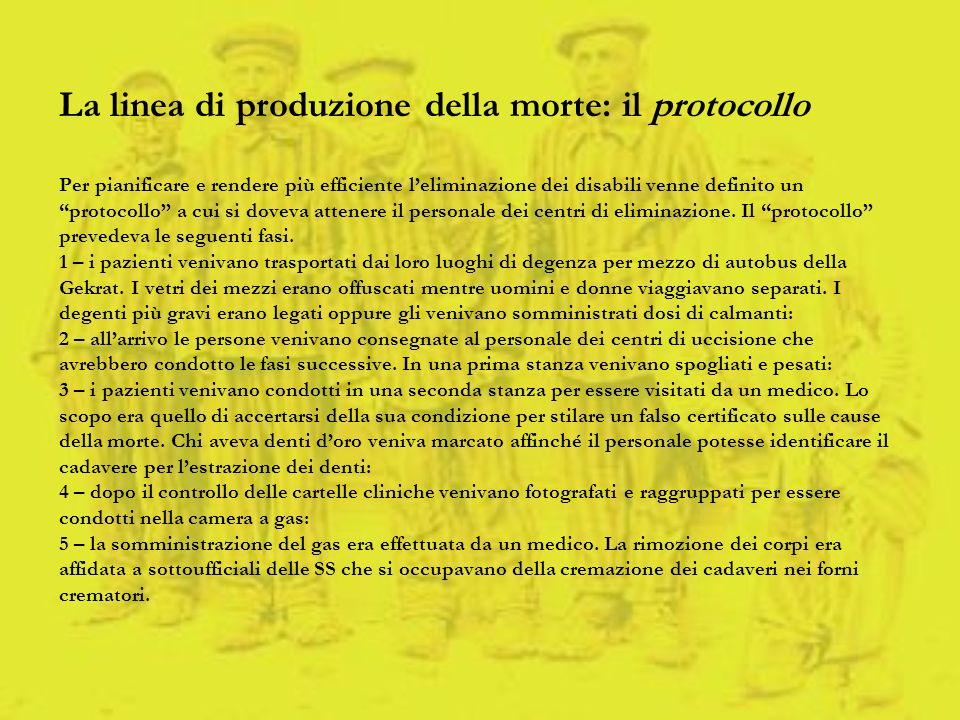 La linea di produzione della morte: il protocollo Per pianificare e rendere più efficiente leliminazione dei disabili venne definito un protocollo a c