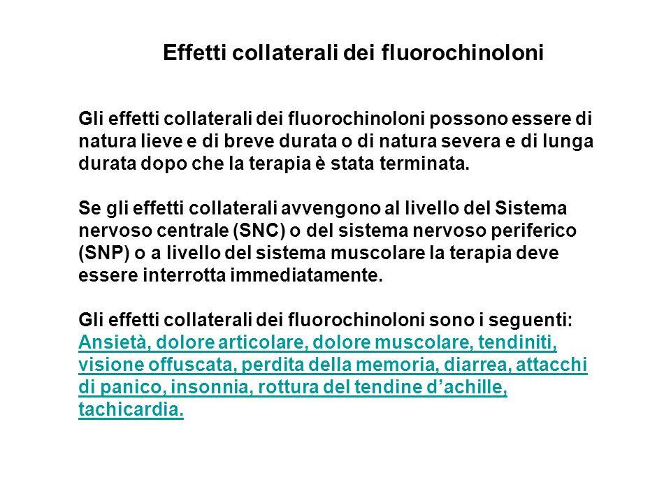Gli effetti collaterali dei fluorochinoloni possono essere di natura lieve e di breve durata o di natura severa e di lunga durata dopo che la terapia è stata terminata.