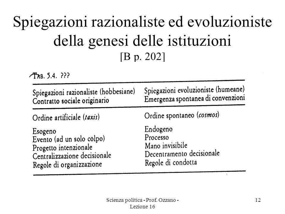 Scienza politica - Prof. Ozzano - Lezione 16 12 Spiegazioni razionaliste ed evoluzioniste della genesi delle istituzioni [B p. 202]