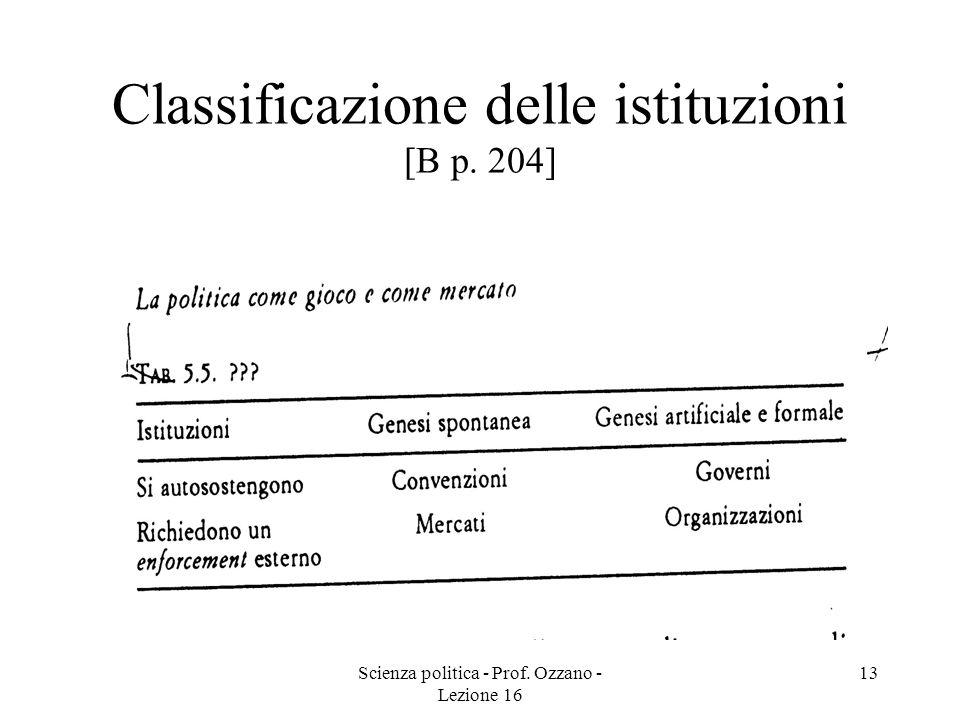 Scienza politica - Prof. Ozzano - Lezione 16 13 Classificazione delle istituzioni [B p. 204]