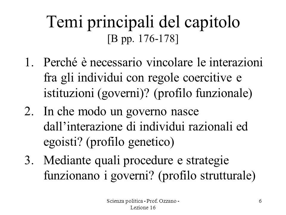 Scienza politica - Prof. Ozzano - Lezione 16 6 Temi principali del capitolo [B pp. 176-178] 1.Perché è necessario vincolare le interazioni fra gli ind