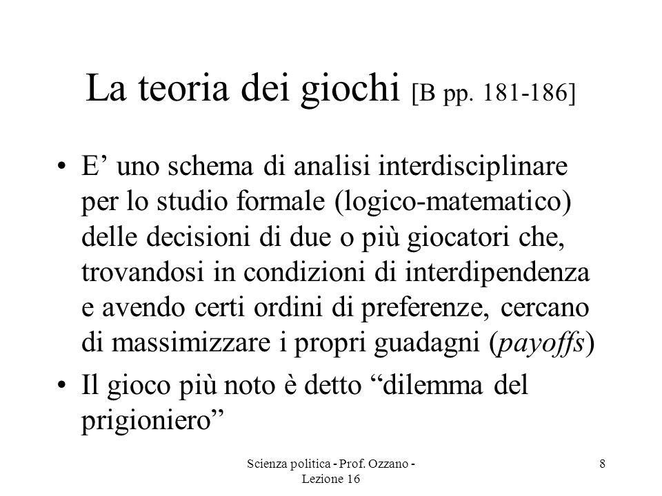 Scienza politica - Prof. Ozzano - Lezione 16 8 La teoria dei giochi [B pp. 181-186] E uno schema di analisi interdisciplinare per lo studio formale (l