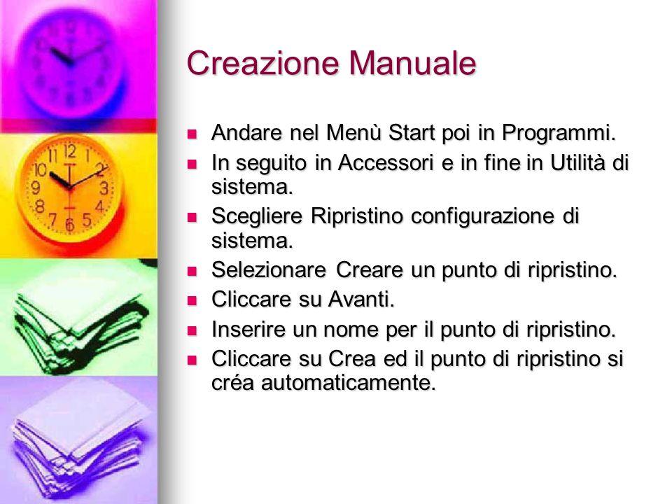 Creazione Manuale Andare nel Menù Start poi in Programmi.