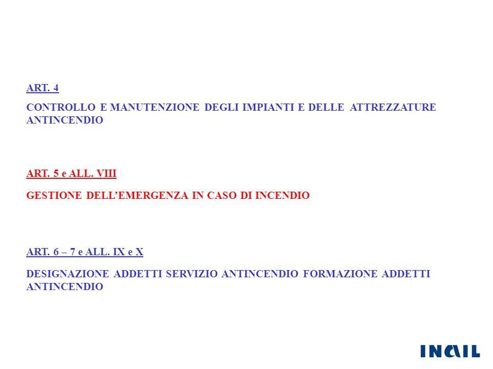 ART. 4 CONTROLLO E MANUTENZIONE DEGLI IMPIANTI E DELLE ATTREZZATURE ANTINCENDIO ART. 5 e ALL. VIII ART. 6 – 7 e ALL. IX e X GESTIONE DELLEMERGENZA IN