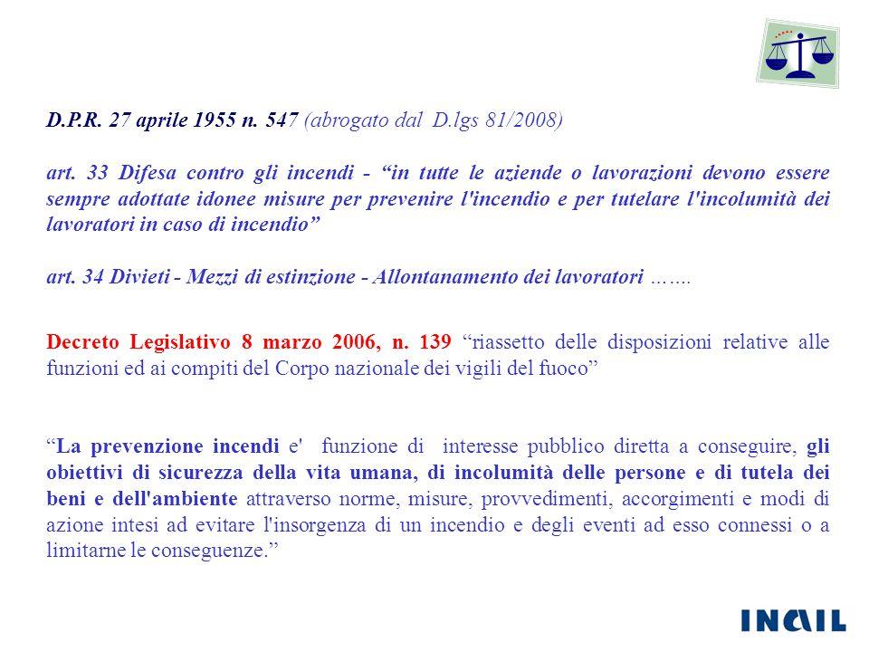 D.P.R. 27 aprile 1955 n. 547 (abrogato dal D.lgs 81/2008) art. 33 Difesa contro gli incendi - in tutte le aziende o lavorazioni devono essere sempre a
