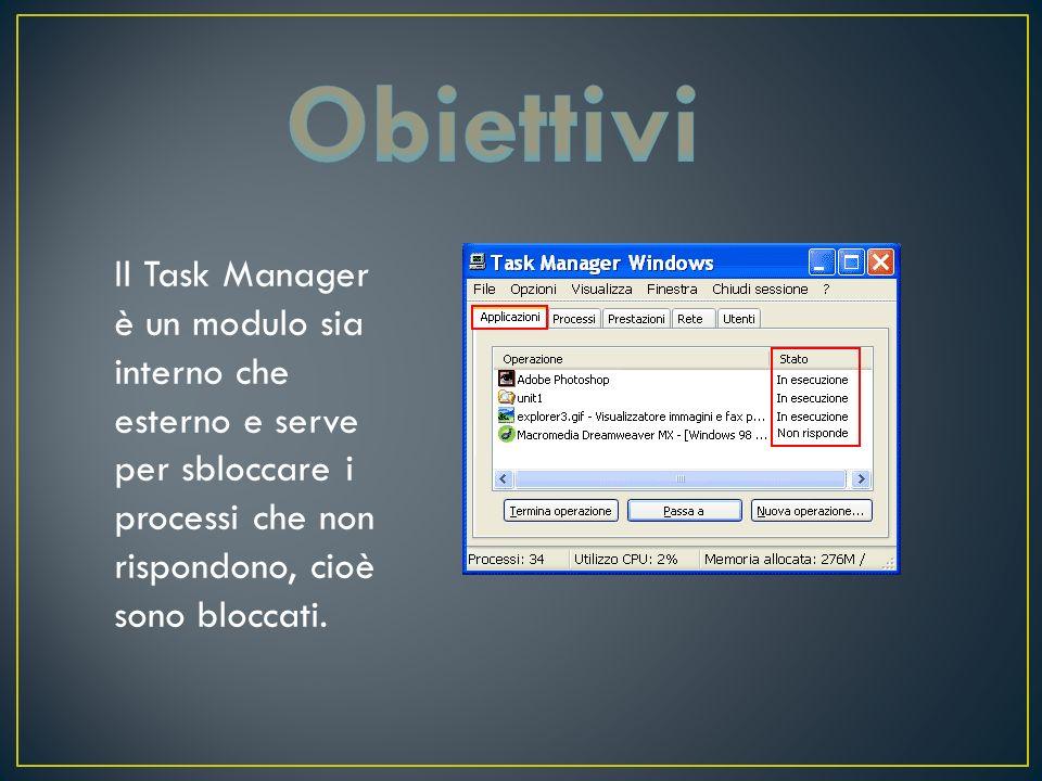 Il Task Manager si può aprire in tre modi: Premendo la combinazione CTRL+SHIFT+ESC oppure Premendo la combinazione CTRL+ALT+CANC e poi cliccando con il mouse la scritta Task Manager Oppure Cliccando con il mouse nella barra delle attività e cliccando la scritta Task manager ( o gestione attività).