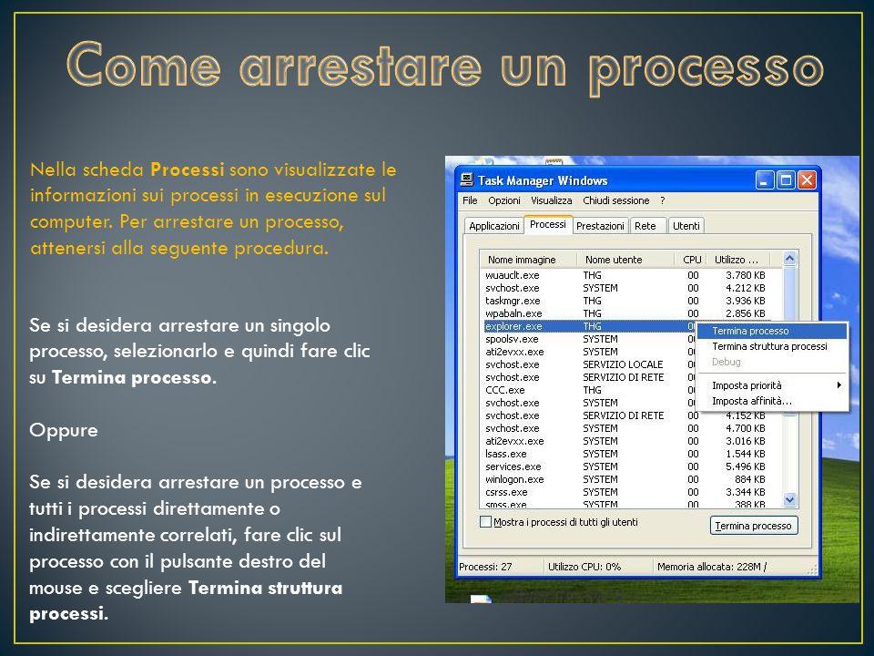 Se si desidera arrestare un singolo processo, selezionarlo e quindi fare clic su Termina processo.
