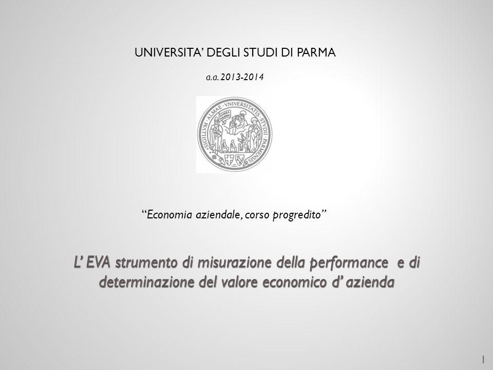 UNIVERSITA DEGLI STUDI DI PARMA a.a. 2013-2014 Economia aziendale, corso progredito 1