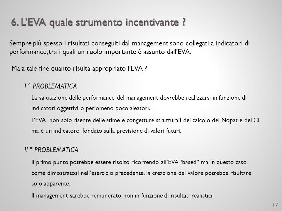 I ° PROBLEMATICA La valutazione delle performance del management dovrebbe realizzarsi in funzione di indicatori oggettivi o perlomeno poco aleatori.