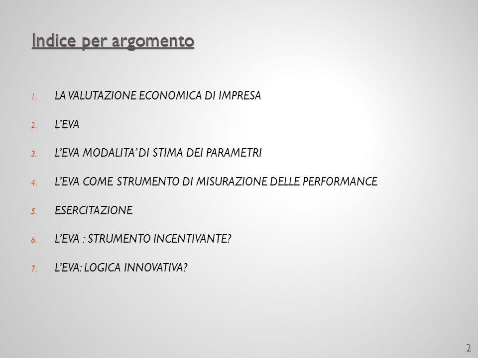 1. LA VALUTAZIONE ECONOMICA DI IMPRESA 2. LEVA 3.