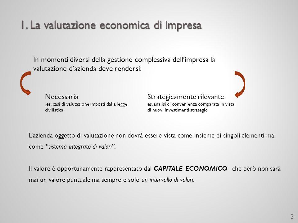 Lazienda oggetto di valutazione non dovrà essere vista come insieme di singoli elementi ma come sistema integrato di valori.