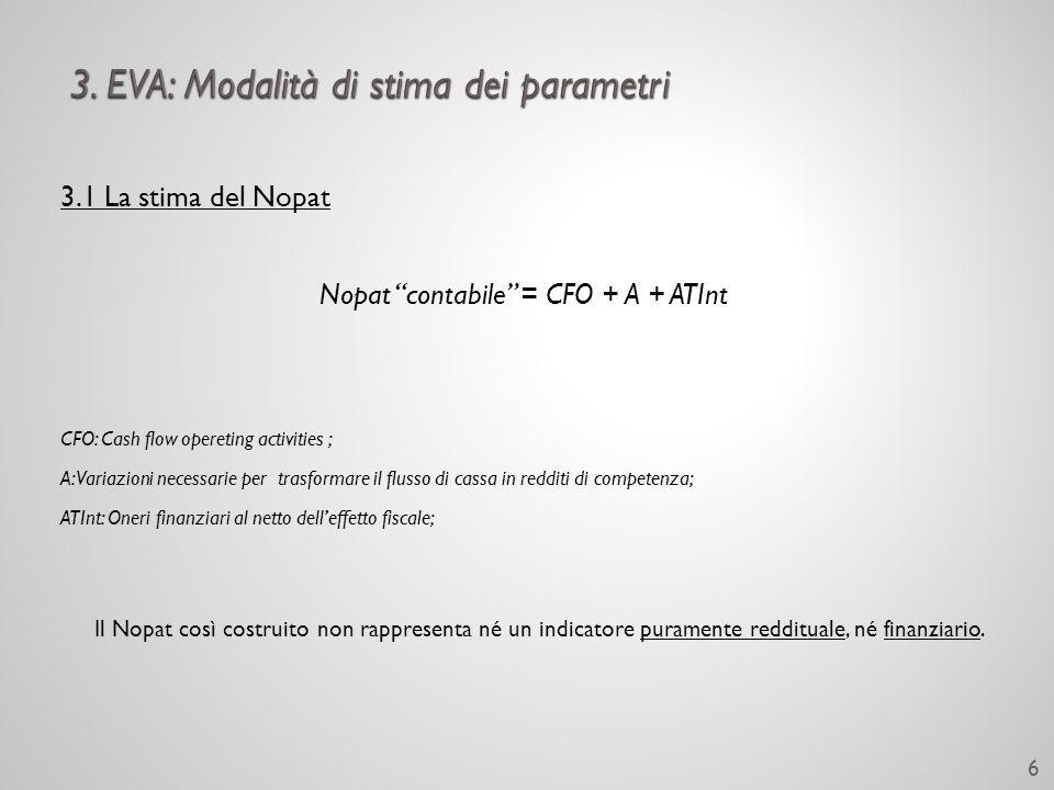 3.1 La stima del Nopat Il Nopat contabile non rappresenta il valore effettivo dellarea caratteristica.