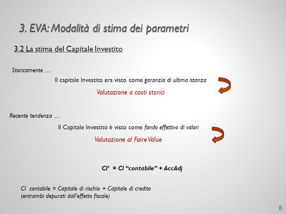 3.2 La stima del Capitale Investito Storicamente … Il capitale Investito era visto come garanzia di ultima istanza Valutazione a costi storici Recente tendenza … Il Capitale Investito è visto come fondo effettivo di valori Valutazione al Faire Value CI = CI contabile + AccAdj CI contabile = Capitale di rischio + Capitale di credito (entrambi depurati dalleffetto fiscale) 8