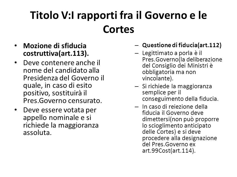 Titolo V:I rapporti fra il Governo e le Cortes Mozione di sfiducia costruttiva(art.113). Deve contenere anche il nome del candidato alla Presidenza de