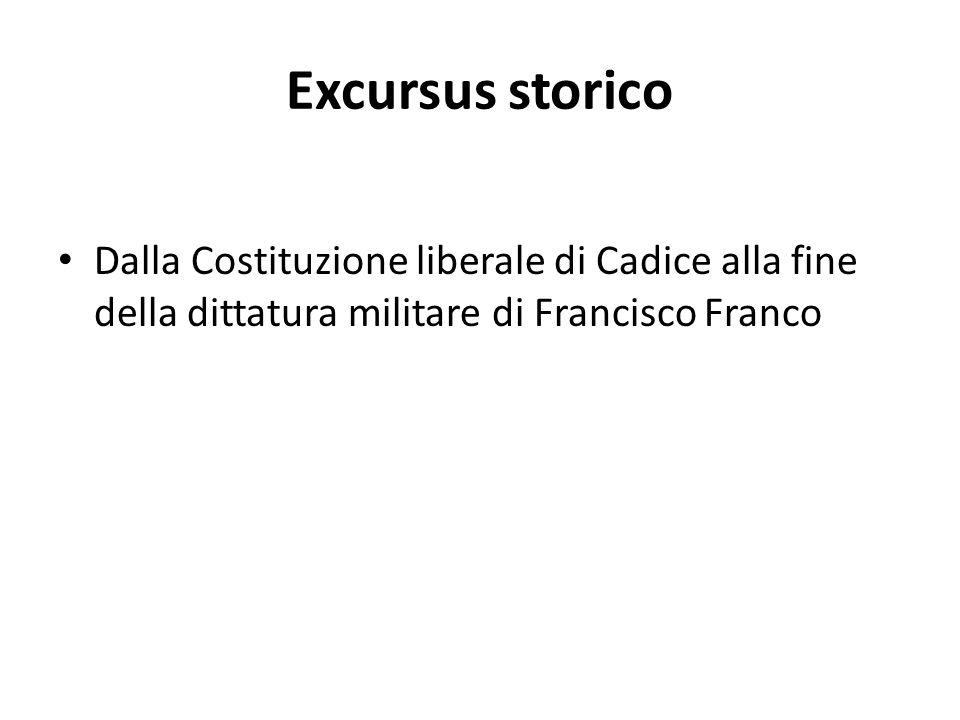 Excursus storico Dalla Costituzione liberale di Cadice alla fine della dittatura militare di Francisco Franco