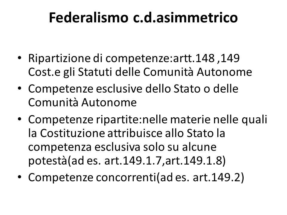 Federalismo c.d.asimmetrico Ripartizione di competenze:artt.148,149 Cost.e gli Statuti delle Comunità Autonome Competenze esclusive dello Stato o dell