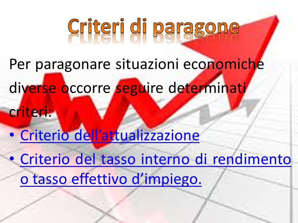 Per paragonare situazioni economiche diverse occorre seguire determinati criteri: Criterio dellattualizzazione Criterio dellattualizzazione Criterio d