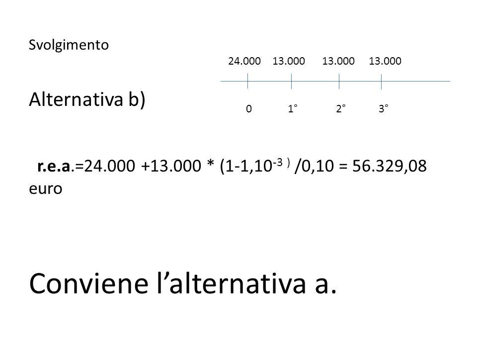 Svolgimento Alternativa b) r.e.a.=24.000 +13.000 * (1-1,10 -3 ) /0,10 = 56.329,08 euro Conviene lalternativa a. 24.000 13.000 13.000 13.000 0 1° 2° 3°