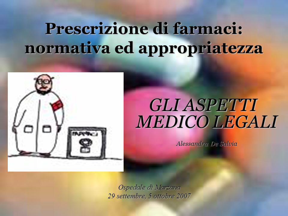 GLI ASPETTI MEDICO LEGALI Alessandra De Salvia Ospedale di Marzana 29 settembre, 5 ottobre 2007 Prescrizione di farmaci: normativa ed appropriatezza