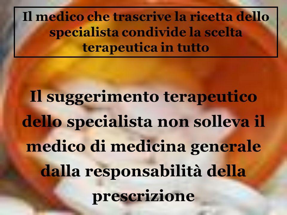 Il medico che trascrive la ricetta dello specialista condivide la scelta terapeutica in tutto Il suggerimento terapeutico dello specialista non sollev