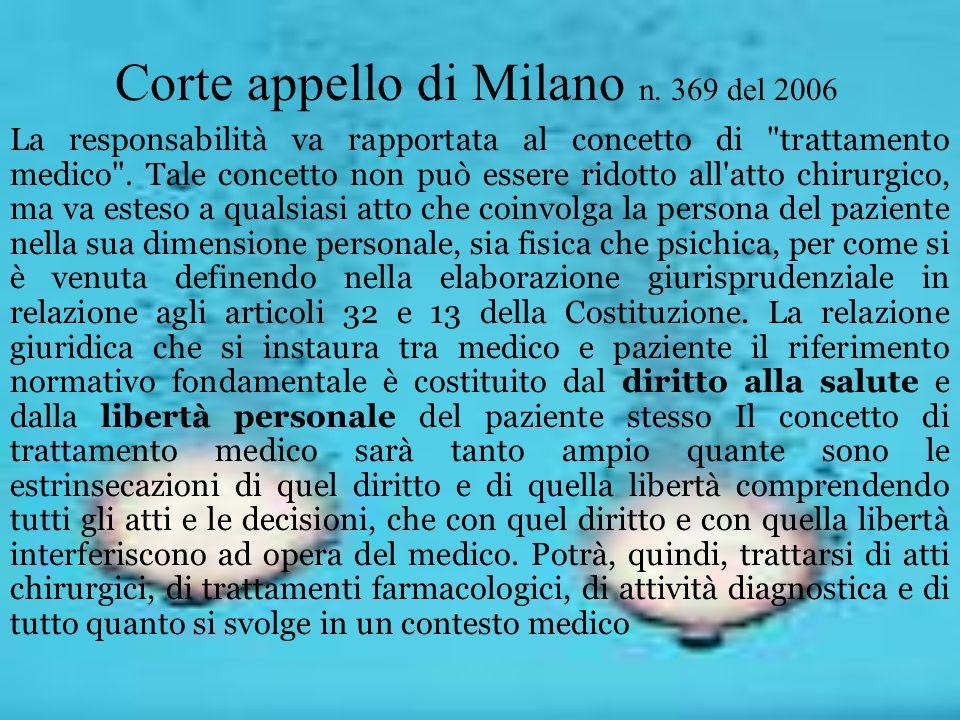 Corte appello di Milano n. 369 del 2006  La responsabilità va rapportata al concetto di
