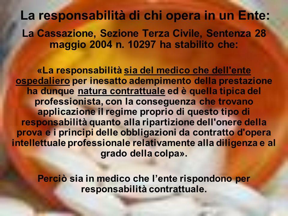 La responsabilità di chi opera in un Ente: La Cassazione, Sezione Terza Civile, Sentenza 28 maggio 2004 n. 10297 ha stabilito che: «La responsabilità