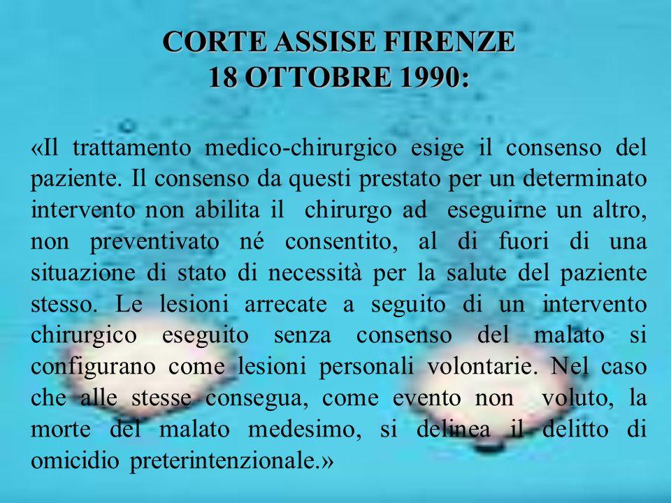 CORTE ASSISE FIRENZE 18 OTTOBRE 1990: «Il trattamento medico-chirurgico esige il consenso del paziente. Il consenso da questi prestato per un determin